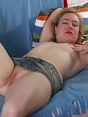 Blonde horny housewife playing with herself