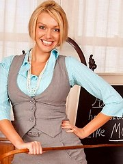 Gorgeous blonde professional slips off her office attire at Anilos