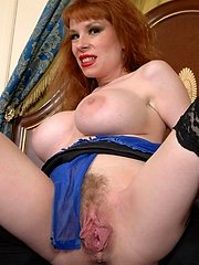 busty red head milf show pussy