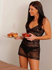 India Summer brings her man fresh strawberries wearing lace lingerie