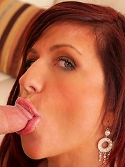 Cum loving red head takes a mouth ful of hard cock