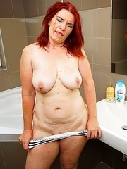 Horny housewife masturbating in her bathroom
