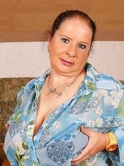 German huge breasted BBW playing alone