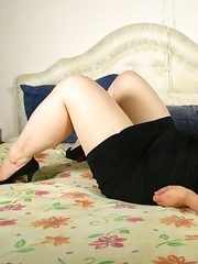 Chubby Dutch housewife getting ready to play with herself