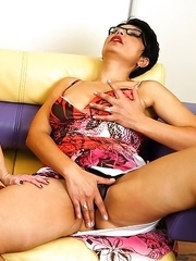 Two naughty housewives share a cock in a threesome