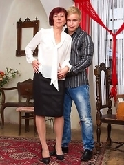 Naughty mature teacher seduces her student