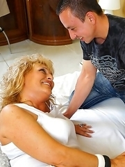 Horny blonde housewife fucking her younger lover