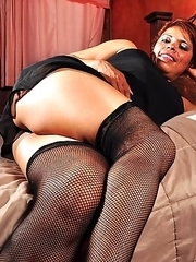 Naughty Latin housewife getting wet and wild on her bed