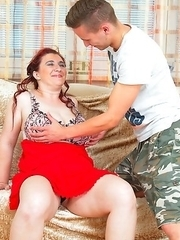 Naughty BBW fooling around with her toy boy