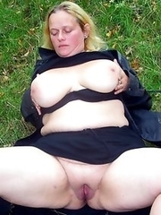 Chubby mature mothers flashing with a breasts