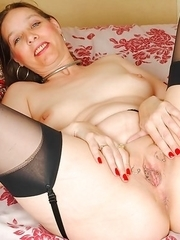 This pierced mature slut is wet and wild